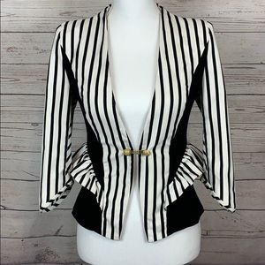 Stella&Jamie White Black Cotton Striped Jacket XS